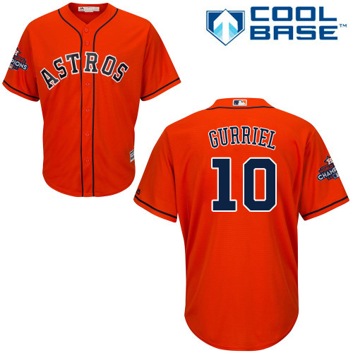 Astros #10 Yuli Gurriel Orange Cool Base 2017 World Series Champions Stitched Youth MLB Jersey