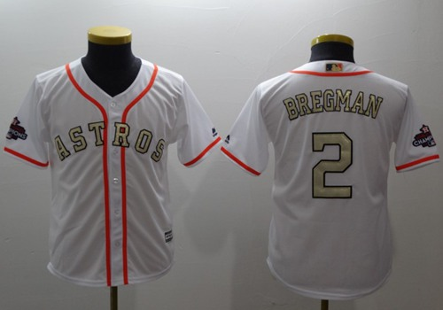 Astros #2 Alex Bregman White 2017 World Series Champions Gold Program Cool Base Stitched Youth Baseball Jersey