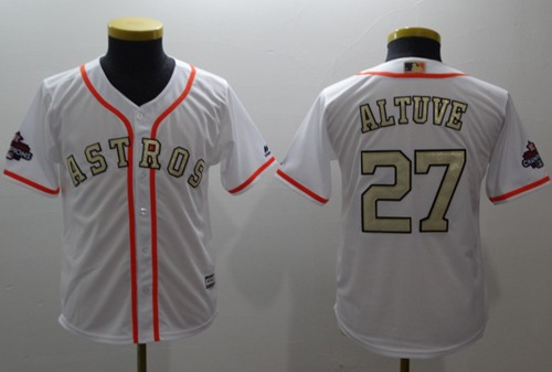 Astros #27 Jose Altuve White 2017 World Series Champions Gold Program Cool Base Stitched Youth Baseball Jersey