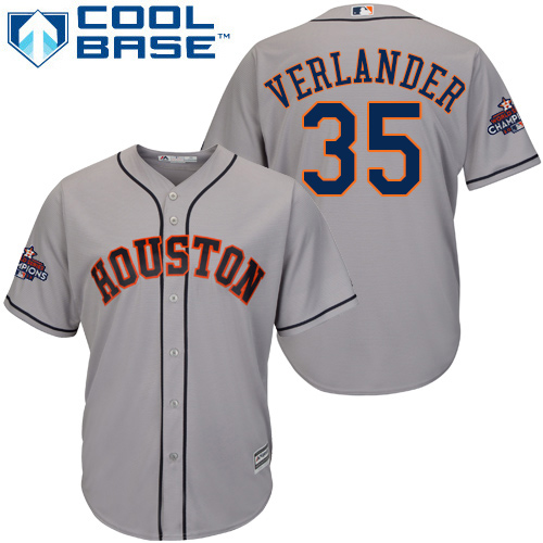Astros #35 Justin Verlander Grey Cool Base 2017 World Series Champions Stitched Youth MLB Jersey