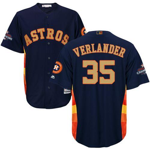 Astros #35 Justin Verlander Navy Blue 2018 Gold Program Cool Base Stitched Youth MLB Jersey