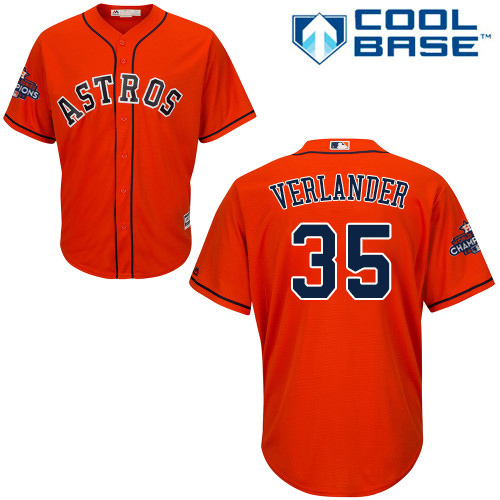 Astros #35 Justin Verlander Orange Cool Base 2017 World Series Champions Stitched Youth MLB Jersey