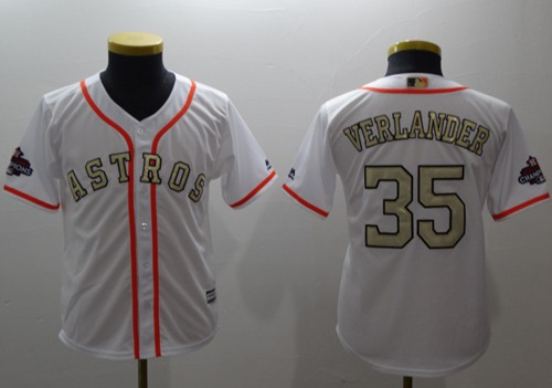 Astros #35 Justin Verlander White 2017 World Series Champions Gold Program Cool Base Stitched Youth Baseball Jersey