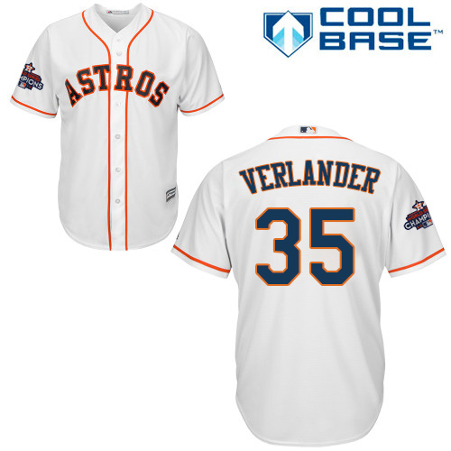 Astros #35 Justin Verlander White Cool Base 2017 World Series Champions Stitched Youth MLB Jersey