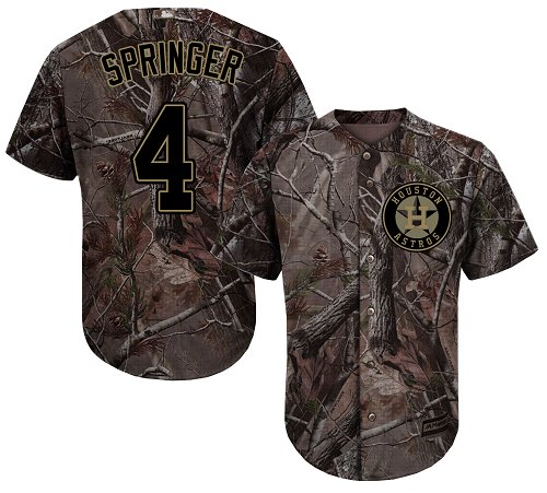 Astros #4 George Springer Camo Realtree Collection Cool Base Stitched Youth Baseball Jersey