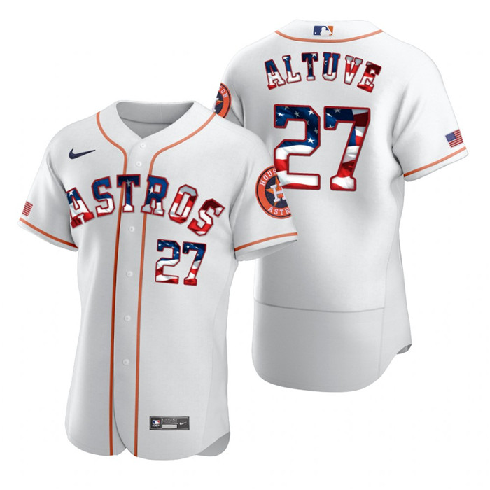 Astros 27 Jose Altuve White USA Flag Fashion Nike Cool Base Jersey