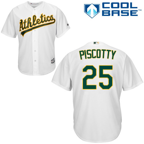 Athletics #25 Stephen Piscotty White Cool Base Stitched Youth MLB Jersey