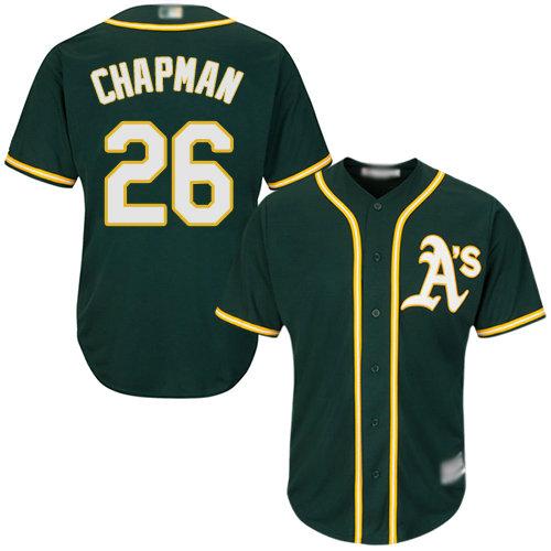 Athletics #26 Matt Chapman Green Cool Base Stitched Youth Baseball Jersey