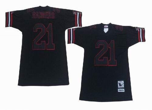Atlanta Falcons #21 Deion Sanders black black number Throwback Jersey