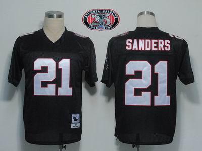 Atlanta Falcons 21 Deion Sanders Black M&N 1990 25th patch