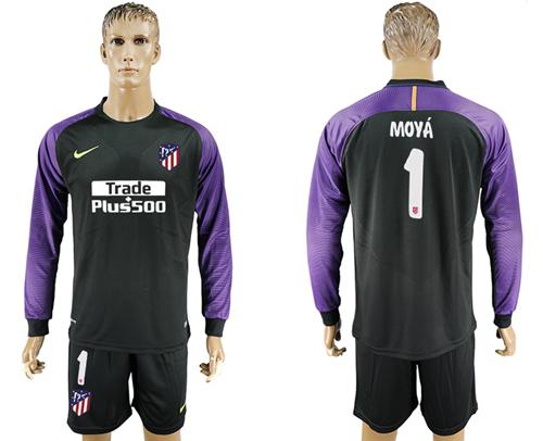 Atletico Madrid #1 Moya Black Goalkeeper Long Sleeves Soccer Club Jersey