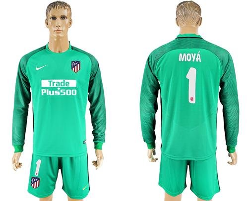 Atletico Madrid #1 Moya Green Goalkeeper Long Sleeves Soccer Club Jersey