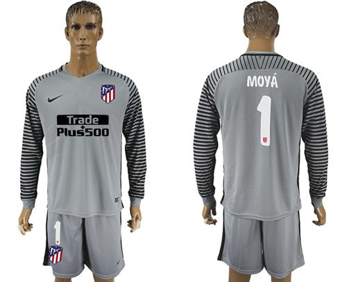 Atletico Madrid #1 Moya Grey Goalkeeper Long Sleeves Soccer Club Jersey