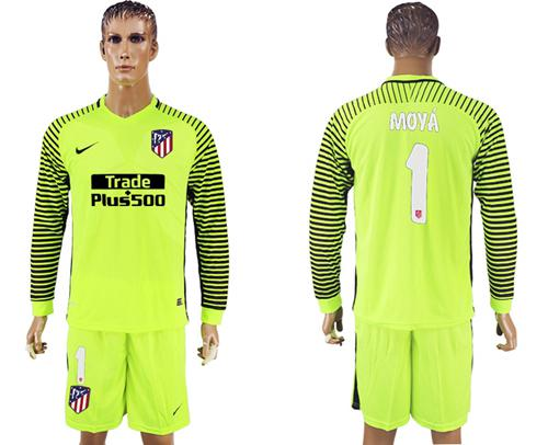 Atletico Madrid #1 Moya Shiny Green Goalkeeper Long Sleeves Soccer Club Jersey