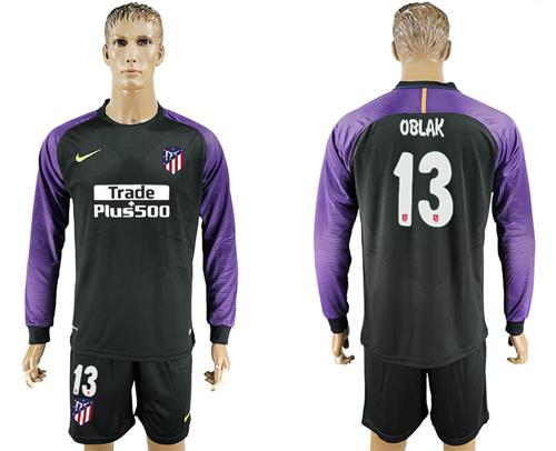 Atletico Madrid #13 Oblak Black Goalkeeper Long Sleeves Soccer Club Jersey
