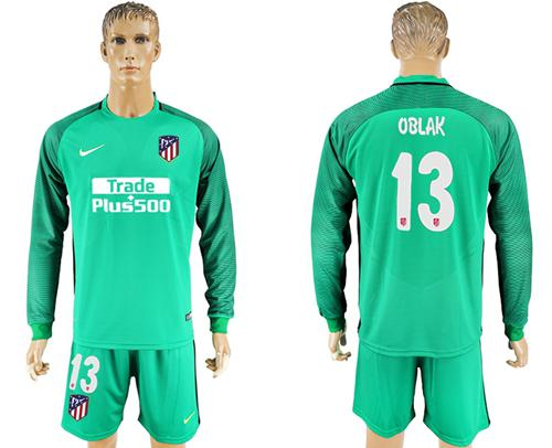 Atletico Madrid #13 Oblak Green Goalkeeper Long Sleeves Soccer Club Jersey