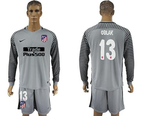 Atletico Madrid #13 Oblak Grey Goalkeeper Long Sleeves Soccer Club Jersey