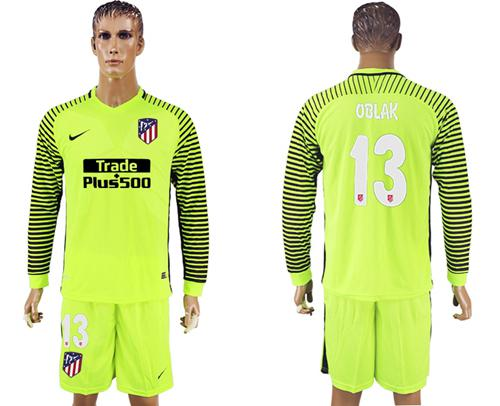 Atletico Madrid #13 Oblak Shiny Green Goalkeeper Long Sleeves Soccer Club Jersey