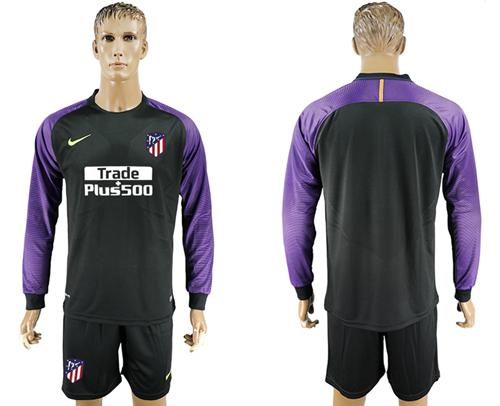 Atletico Madrid Blank Black Goalkeeper Long Sleeves Soccer Club Jersey