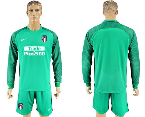 Atletico Madrid Blank Green Goalkeeper Long Sleeves Soccer Club Jersey