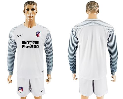Atletico Madrid Blank White Goalkeeper Long Sleeves Soccer Club Jersey