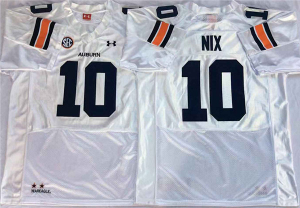 Auburn Tigers 10 Bo Nix White College Football Jersey
