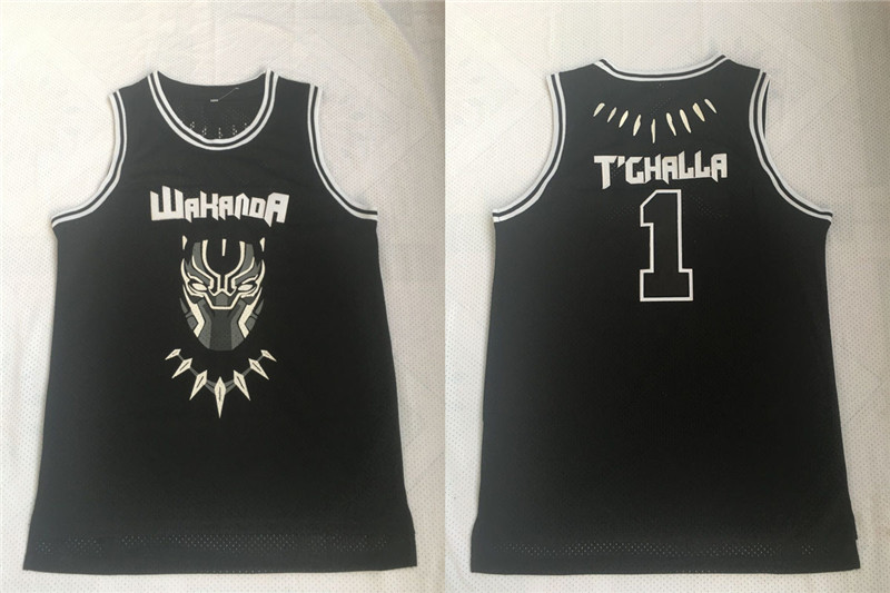 Black Panther 1 T'Challa Black Movie Basketball Jersey