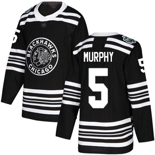 Blackhawks #5 Connor Murphy Black Authentic 2019 Winter Classic Stitched Hockey Jersey