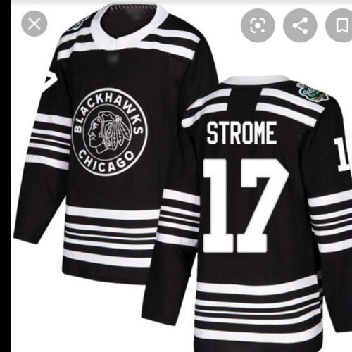 Blackhawks 17 Strome Black 2019 Winter Classic Adidas Jersey