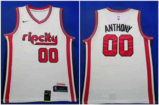 Blazers 00 Carmelo Anthony White Red 2019-20 Nike Swingman Jersey