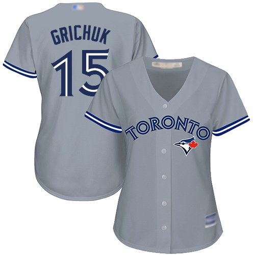Blue Jays #15 Randal Grichuk Grey Road Women's Stitched Baseball Jersey