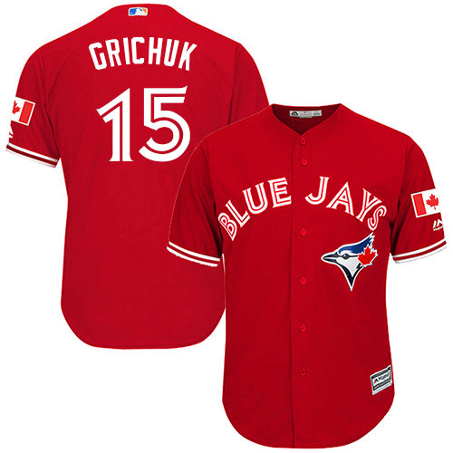 Blue Jays #15 Randal Grichuk Red Cool Base Canada Day Stitched Youth Baseball Jersey