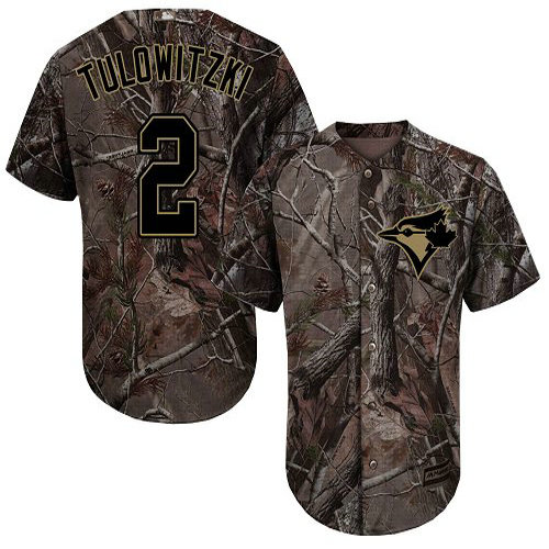 Blue Jays #2 Troy Tulowitzki Camo Realtree Collection Cool Base Stitched Youth Baseball Jersey