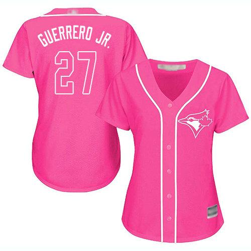 Blue Jays #27 Vladimir Guerrero Jr. Pink Fashion Women's Stitched Baseball Jersey