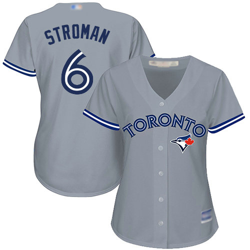 Blue Jays #6 Marcus Stroman Grey Road Women's Stitched Baseball Jersey