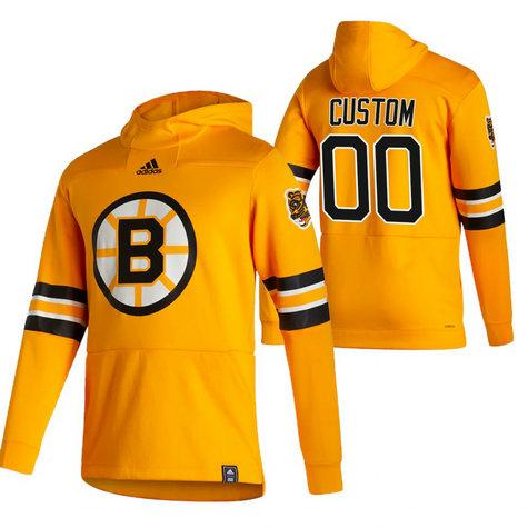 Boston Bruins Custom Adidas Reverse Retro Pullover Hoodie Gold