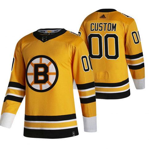 Boston Bruins Custom Yellow Men's Adidas 2020-21 Alternate Authentic Player NHL Jersey
