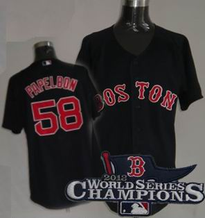 Boston Red Sox #58 Jonathan Papelbon Jersey dark blue 2013 World Series Champions ptach