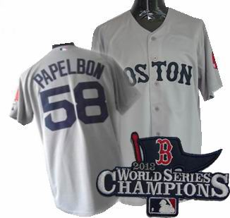 Boston Red Sox #58 Jonathan Papelbon Road Jersey gray 2013 World Series Champions ptach