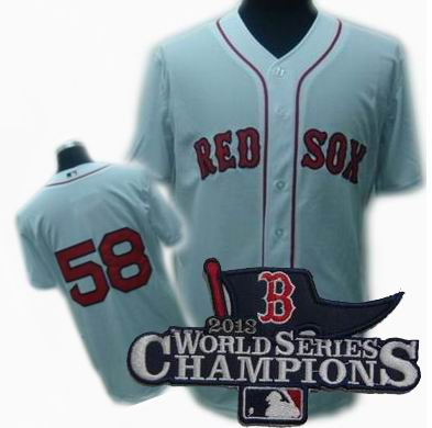 Boston Red Sox #58 Jonathan Papelbon jerseys white 2013 World Series Champions ptach