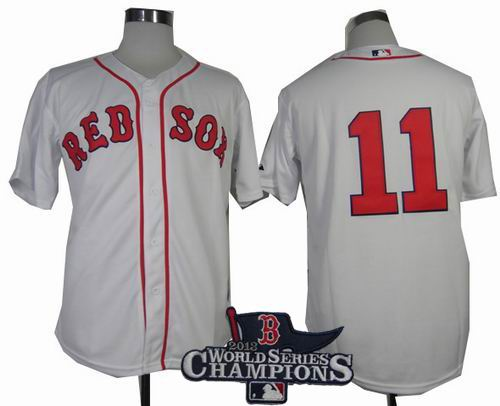 Boston Red Sox 11# Clay Buchholz white cool base jerseys 2013 World Series Champions ptach