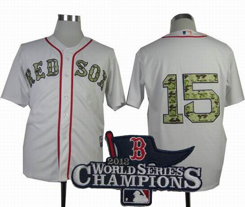 Boston Red Sox 15# Dustin Pedroia 2013 USMC white Cool Base Jersey 2013 World Series Champions ptach