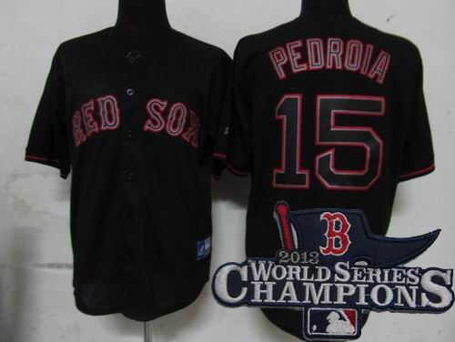 Boston Red Sox 15# Dustin Pedroia Pitch Black Fashion Jersey 2013 World Series Champions ptach