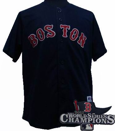Boston Red Sox 15# Dustin dark blue 2009 style jersey 2013 World Series Champions ptach