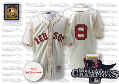 Boston Red Sox 1967 Home Jersey white #8 Carl Yastrzemski 2013 World Series Champions ptach
