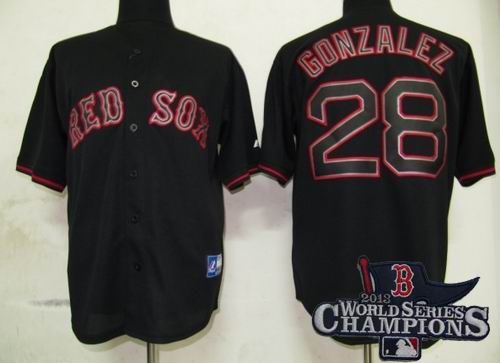 Boston Red Sox 28# Adrian Gonzalez Pitch Black Fashion Jersey 2013 World Series Champions ptach