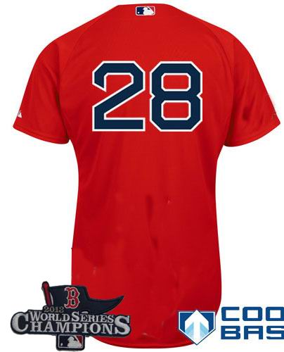 Boston Red Sox 28# Adrian Gonzalez red Cool Base Jersey 2013 World Series Champions ptach