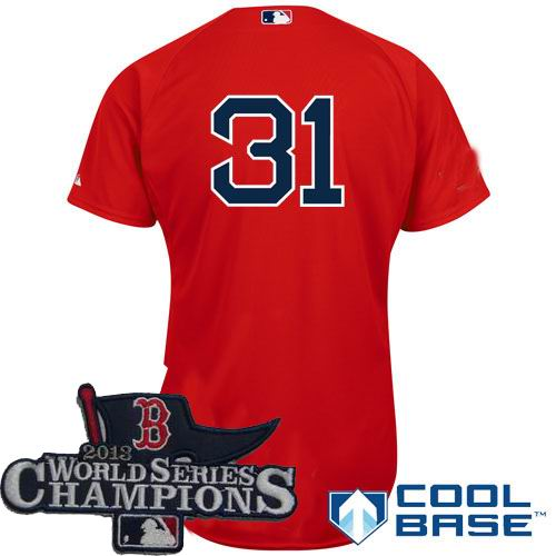 Boston Red Sox 31# Jon Lester Alternate red Cool Base Jersey 2013 World Series Champions ptach