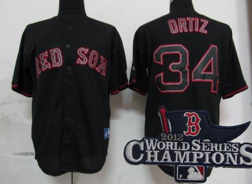Boston Red Sox 34# David Ortiz Pitch Black Fashion Jersey 2013 World Series Champions ptach