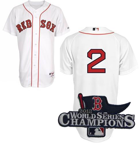 Boston Red Sox Authentic #2 Jacoby Ellsbury Home Jersey white 2013 World Series Champions ptach